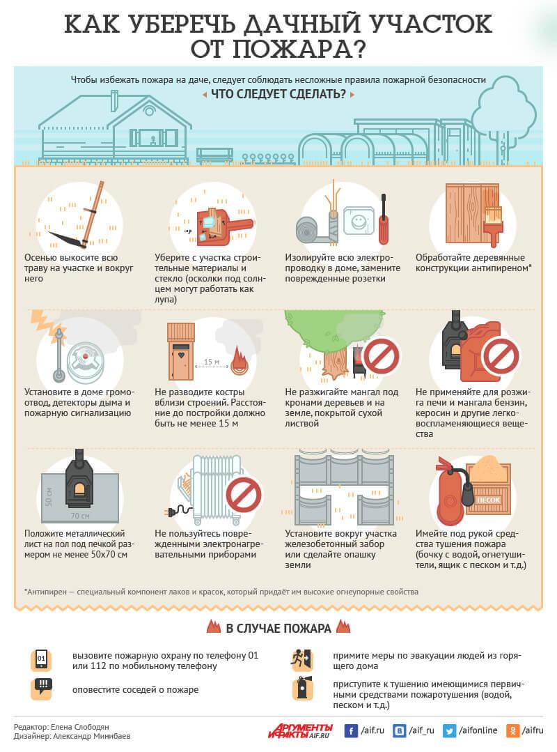 Как уберечь дачный участок от пожара? Инфографика